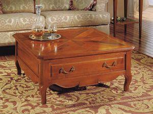Canaletto mesa de café, Mesita cuadrada con cajón