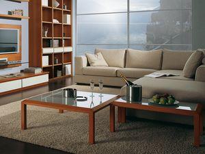 Complementi Tavolino Vetro 02, Mesa de centro en madera y vidrio, para el pasillo del centro