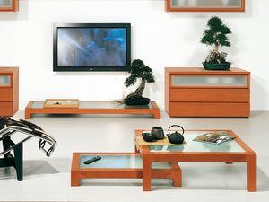 Complementi Tavolino Vetro 09, Mesa de centro en madera y vidrio, hecho de materiales duraderos