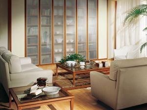 Complementos Pequeña Mesa Cristal 07, Mesa con base de madera y de cristal transparente