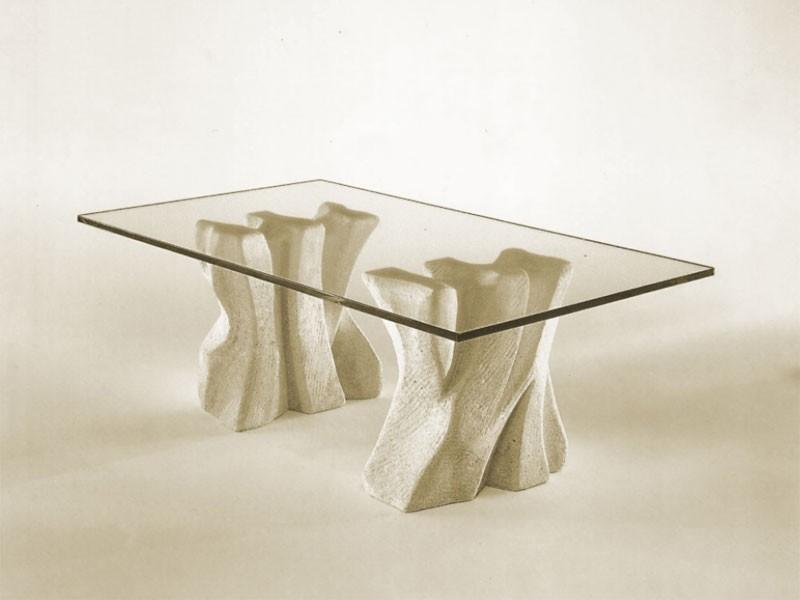 Contrasto, Mesa de centro de piedra para el hogar con la tapa en vidrio