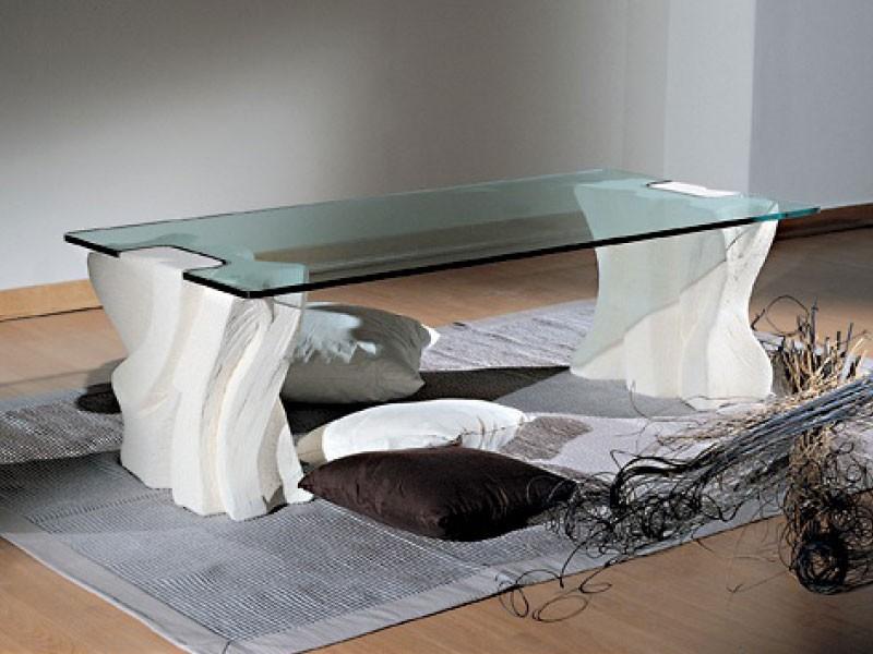 Contrasto Sagomato, Mesa de café elegante para salas de estar, piedra y vidrio