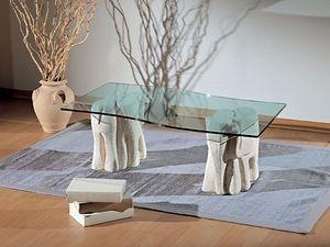 Elefantini, Mesa de centro para salones, hechas de piedra y vidrio