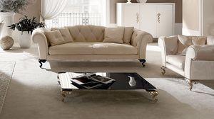 George mesa de café, Mesa para sala del centro, tapa de cristal, pies de aluminio