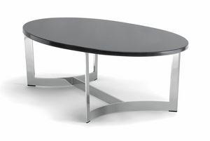 HUGO COFFEE TABLE 088 CO H30 - 088 NO H30, Mesa de centro ovalada, con tapa personalizable