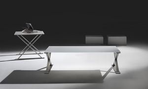 Ics low table, Mesa de centro en acero y vidrio templado, varios acabados