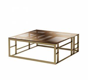Matrix mesa de centro cuadrada, Mesa de centro con tapa de cristal cuadrada ancha