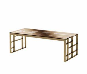 Matrix mesa de centro rectangular, Mesa de centro rectangular, acabado antiguo de metal bronce