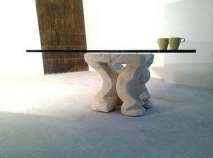 Omini mesa de centro, Mesa de centro para el hogar o la oficina, con el pilar de piedra