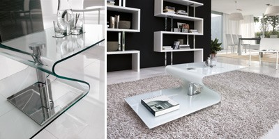 PAVONES, Mesa de centro moderna de vidrio curvado, base de metal