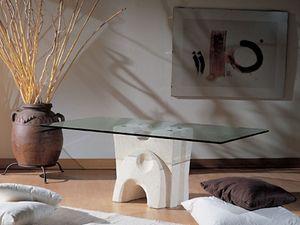 Pesceluna, Mesa de centro con tapa de cristal unido mediante bridas