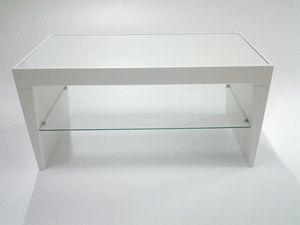 Pop, Mesa auxiliar moderna, estante de cristal, tapa rectangular