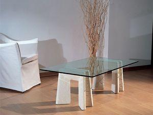 Riflesso, Mesa con base en piedra para el hogar y la oficina