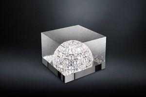 Roma, Mesa de centro de vidrio, con lámpara hemisférica