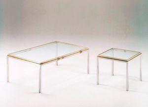 Romano, Mesas de café cuadrado en acero y latón, tapa de cristal