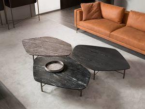 Shangai mesa de caf�, Mesa de centro con base de hierro forjado.