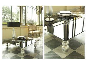 t113 decor, Mesa de centro con patas de madera sólida, tapa de cristal