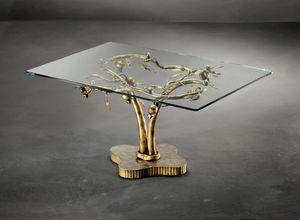 TA/200, Mesa de centro moderna con base de metal y tapa de cristal