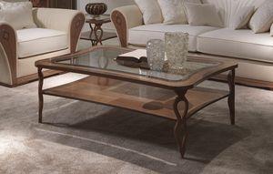 TL56 Charme tavolino, Mesa de centro rectangular, de madera con incrustaciones, con el estante