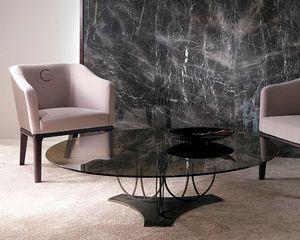 TL59B Moon mesa pequeña, Mesa de centro con tapa de cristal de bronce