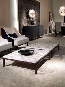 TL61 Square mesa pequeña, Mesa de centro cuadrada para sala de estar, en madera