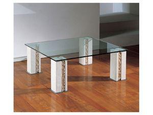 Tracce, Mesa con 4 patas de piedra, superior en vidrio