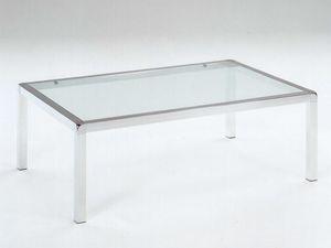 Vega, Mesa de centro en acero inoxidable pulido, vidrio templado