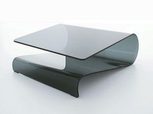 VELO, Mesa de centro en vidrio curvado, para la sala de estar o la recepción