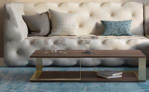 Vesta, Mesa de centro en madera y metal, con diseño minimalista.