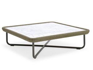 Babylon mesa de centro, Mesa de centro con estructura de aluminio y cuerda, para el aire libre
