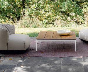 Be-Easy slatted low table, Mesa de centro con listones de teca