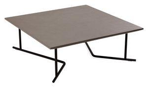 Belt mesa auxiliar 1, Bajo mesa de centro cuadrada, con base metálica, para al aire libre