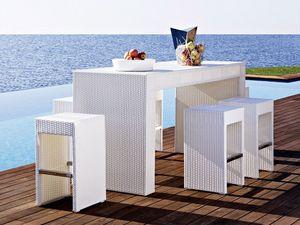 Cora mesa de bar, Mmesa alta, tejido, para el jardín y la playa