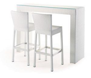 FT 2022, Mesa alta de bar al aire libre, torcido, tapa de cristal