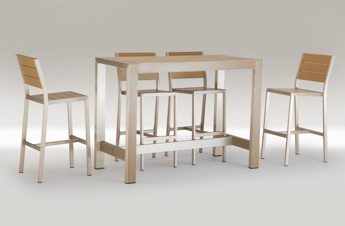 FT 709, Mesa alta en aluminio y madera, para el bar al aire libre