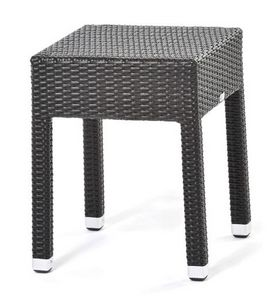 Lotus mesa auxiliar 1, Mesa de café en fibra sintética tejida, para uso en exteriores