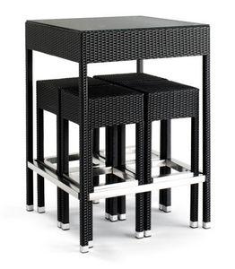 Set 2010, Mesa de aluminio trenzado, con tapa de cristal