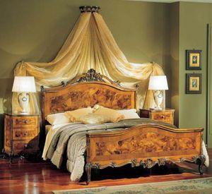 3265 NIGHT TABLE, Mesita de noche de madera con 3 cajones, estilo clásico de lujo