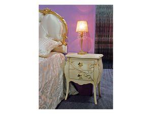 Art. 1601 Jasmine, Mesita de noche de estilo clásico, tallado, de hotel