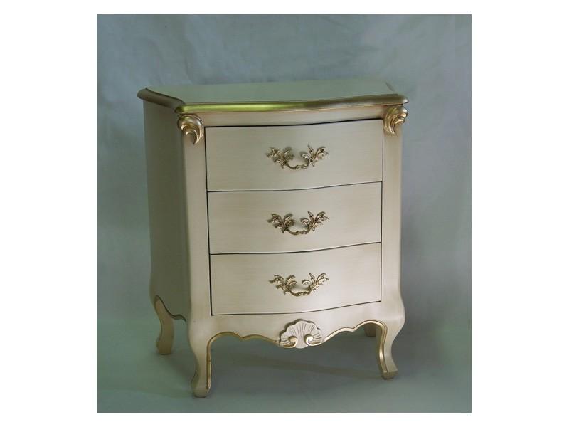Art. 1786 ivory, Mesita de noche de madera, acabado en color marfil y oro, para los hoteles