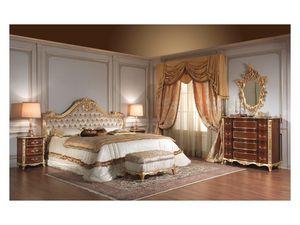 Art. 951 Bedside Table, Mesillas de noche en madera de cerezo, detalles de la hoja de plata, para habitaciones de hotel