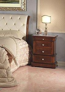Art. 952/2 bedside, Mesita de noche tallada, tapa de mármol de Carrara, para el dormitorio