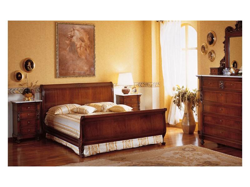Art. 973 bedside table '800 Siciliano, Mesitas de noche de madera, con tapa de mármol, de lujo Hoteles