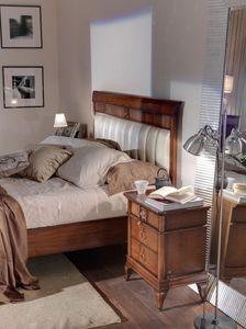 Art. CA722, Mesita de noche de madera para dormitorio con un estilo clásico contemporáneo