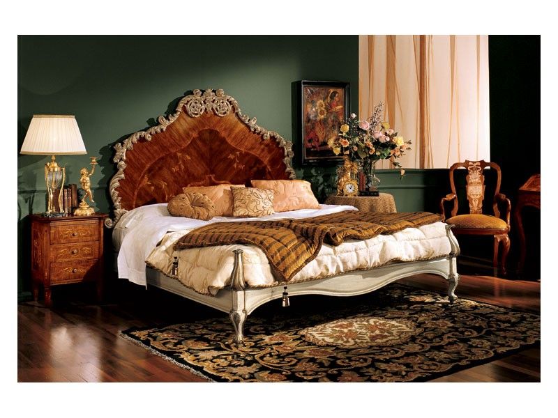 Barocco bedside table 735, Mesita de noche de madera con 3 cajones, de estilo barroco
