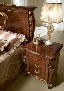 Donatello mesita de noche, Lujo mesa de noche clásica, en madera tallada, para el dormitorio