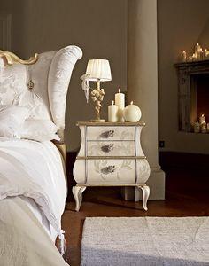 Matilde mesita de noche, Mesita de noche con un diseño aplanado, decorado a mano