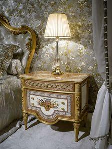 Mesita de noche 3704 estilo Luis XVI, Mesita de noche clásica de lujo