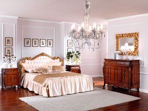 OLIMPIA B / Bedside table, Cama de madera en estilo clásico para el dormitorio