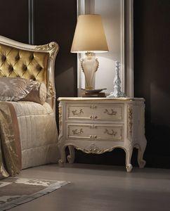 R45 / mesita de noche, Mesita de noche de estilo clásico, con tallas, lacado blanco